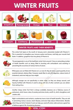 Winter Fruits | List of Winter Fruits and Their Awesome Benefits Pictionary For Kids, Winter Crops, Fruit List, Visual Dictionary, Fruit Picture, Sour Taste, Pomegranate Juice, Vitamin C, Esl