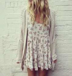 NW)T Brandy Melville Cream Floral Flower Rose Yellow Pink Cotton Jada Dress #BrandyMelville #Sundress #Casual