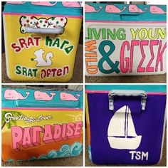 "Having the srattiest cooler on the entire beach. TSM.   Also--I want a tshirt made of the ""Greetings from PAΓΔDISE"" design...ob.sessed."