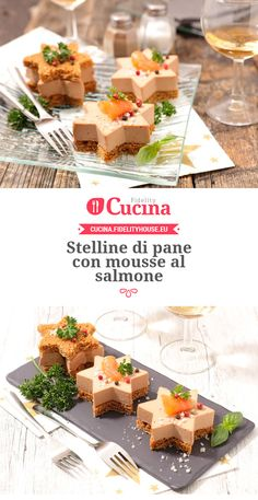 Stelline di pane con mousse al salmone Appetizers For Party, Appetizer Recipes, Snack Recipes, Cooking Recipes, Tapas, Mousse, Christmas Dishes, Xmas Food, Antipasto
