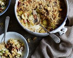 James Martin's sprout, bacon and mushroom crumble recipe