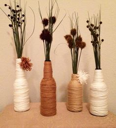 Handmade Modern Country Chic wrapped glass bottles // Wedding Centerpiece // Wedding Décor // Home Décor    on Etsy, $10.00