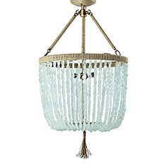 Seychelles Chandelier  Cut seaglass beads form a dramatic canopy beneath a hemp-wrapped steel frame. A natural beauty created just for Serena & Lily, it makes a beautiful statement in any room – from the bedroom to the powder room.