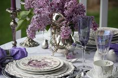 Sliver and Lilac.  Wonderful tablescape ideas.