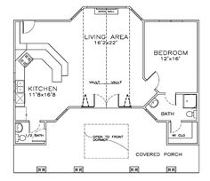 First Floor Plan of Coastal Cottage Craftsman House Plan 57860, 932 sq. ft. one bedroom, one and a half bathroom.