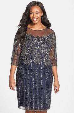 Pisarro Nights Illusion Yoke Embellished Shift Dress (Plus Size) available at #Nordstrom