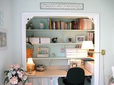 Sharons Place of blessings: I converted a closet into a sewing space in a guest room.