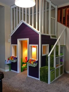 #playarea #playroom / indoor #playhouse with upstairs loft and cube storage stairs. Seen at: http://duncanjourney.blogspot.com/2014/06/indoor-playhouse.html
