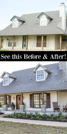 FIXER UPPER Renovation With European Country Rustic Decor! - Hello Lovely Before and after: See my favorite Fixer Upper renovation for the Ignacio family who wanted a rustic Italian farmhouse. Home Exterior Makeover, Exterior Remodel, Italian Farmhouse, Farmhouse Style, Farmhouse Homes, Up House, House Front, Front Porch, Cabana