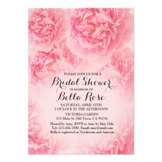 Pink peony Bridal Shower invitation peony