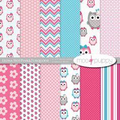 Owl Digital Scrapbook Paper - Leona HotPink&Turquoise -- INSTANT DOWNLOAD
