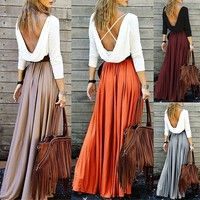 2018 Casual 4Colors Womens Spring Fashion Long Dress High Waist Elegant Dress Pure Color Slim Fit Party Dress Floor Length Skirt   Wish