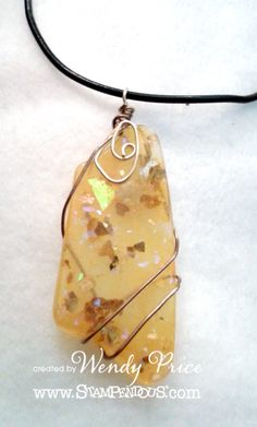 Stampendous and EnviroTex Resin Hop Faux Amber pendant by Wendy Price