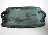 Dragonfly platter by On the Pond Pottery