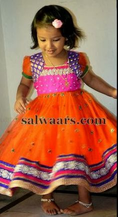 Indian Dresses: Kids Tissue Net Frock