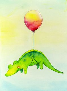 Alligator Balloon by Maggie Tsou, via Behance Alligator Tattoo, Baby Alligator, Alligator Cupcakes, Cute Drawings, Animal Drawings, Alligator Birthday Parties, Crocodile Party, Balloon Painting, Drawing For Kids