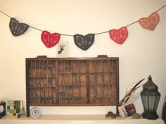 #black #red #heart #bunting #wedding #decor