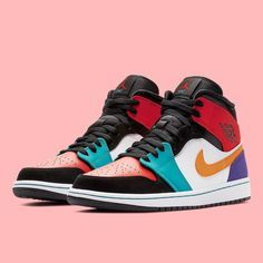 """8d88fc4cc28f0c Sneaker News on Instagram  """"Some colorful blocking arrives on the Air Jordan  1 Mid. Any nickname suggestions  For a closer look"""