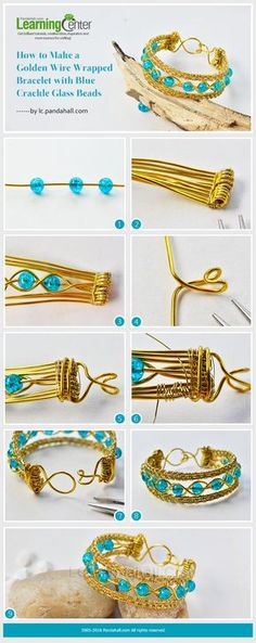 How to Make a Golden Wire Wrapped Bracelet with Blue Crackle Glass Beads