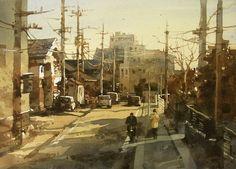 【走在回家的路上】27*36CM,Watercolour....By Chien Chung Wei,簡忠威老師水彩課堂示範:留白膠技法
