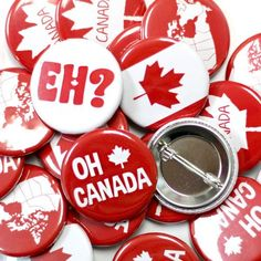 We've made a special button collection to help celebrate Canada Day. You can pin on your Canadian pride with these red and white buttons for Canada Day. Canada Holiday, Public Holidays, Canada Day, Button Badge, New Pins, Pride, Buttons, Engagement Ideas, Rotary