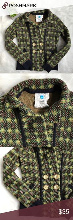 """Sparrow Anthropologie Lambswool Plaid Sweater Sparrow Anthropologie Lambswool Plaid Sweater Cardigan Blazer in Blue Green. Size XS. Measurements taken when closed and unstretched. 31"""" bust. 27"""" waist. 19"""" long. Mild piling. Good condition. Medium thickness. Anthropologie Sweaters Cardigans"""