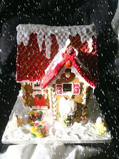 Gingerbread Red Roof with Snow