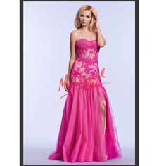 This Mac Duggal Pink corset top Prom Dress is stunning! Prom 2015 dresses will begin arriving in December! Call Asiye's at 203-245-1200 to reserve your dream dress...we'll call you when it comes in!