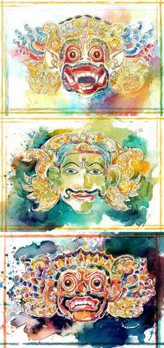Bali Masks by SillyJellie.deviantart.com on @DeviantArt