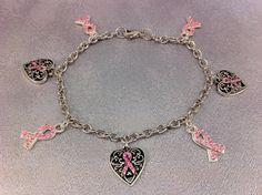 Breast Cancer Awareness Charm Bracelet by braceletsforcancer, $10.00