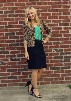 Mint tank, leopard cardigan, black pencil skirt