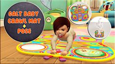 """victorrmiguellcreations: """" Calt baby crawl mat + Pose *Many thanks for allowing me to convert your creation! Sims Love, The Sims 4 Pc, Sims Cc, Toddler Poses, Baby Poses, Crawling Baby, Baby Kicking, Sims 4 Poses, The Sims 4 Bebes"""
