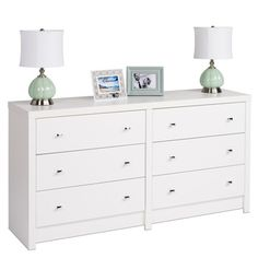 @Overstock.com - Pure White Nolita 6-drawer Dresser  - Inspired by chic cosmopolitan design this Nolita dresser blends modern lines and elegant details. Finished in pure white laminate with diamond cut chrome knobs, this chest offers six sizable drawers that provide ample storage space for your clothing.  http://www.overstock.com/Home-Garden/Pure-White-Nolita-6-drawer-Dresser/8407373/product.html?CID=214117 $294.99