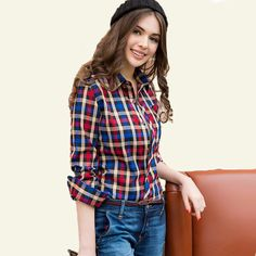 New 2016 Fashion Women T-Shirts  Long Sleeve Turn-down Collar Plaid Shirts Women Casual Cotton Shirt JN167  #shoulderbags #highschool #handbags #WomenWallets #bag #YLEY #bagshop #backpack #fashion #L09582 #Happy4Sales #kids  #NewArrivals