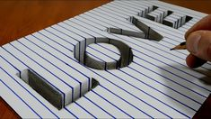 """Draw Word """"LOVE"""" - Hole on Line Paper   3D Trick Art - YouTube"""