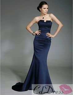 Fashion Trumpet Strapless Brush Train Satin Prom Dress Inspired by Lisa Rinna - Evening Dresses - Special Occasion Dresses - CDdress.com