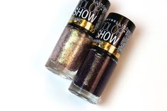 Maybelline Color Show Brocades nail polish in Gilded Rose (left)