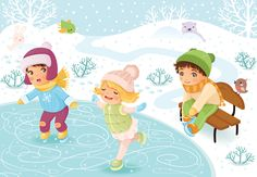 Happy Kids Skating On The Ice. Four Seasons Art, Kids Skates, Winter Activities For Kids, Zeina, School Clipart, Cute Cartoon Girl, Christmas Clipart, Infant Activities, Drawing For Kids