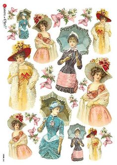 Decoupage paper of many kinds, including decoupage napkins and Italian rice paper sheets. Pub Vintage, Vintage Labels, Vintage Cards, Vintage Woman, Rice Paper Decoupage, Paper Art, Paper Crafts, Images Vintage, Victorian Women