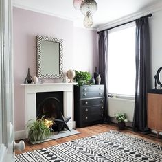 Wall Colour - 'Pink Slip' Little Greene ..... Rug - La Redoute ..... Mirror - West Elm ..... Pendant light fitting - Made.com