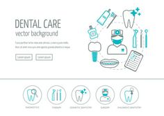 Dental care web design concept. Line icons for website and landing page. Modern linear concept. Flat design. Vector