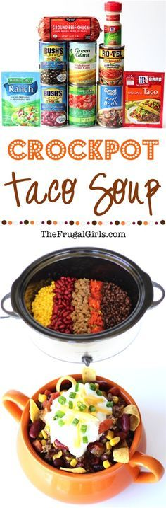 Easy Crockpot Taco Soup Recipe! ~ I used maybe half of ranch seasoning, no extra salt, no onions or onion powder and about 2.5-3 tbs of homemade taco seasoning. No tomatoes w/green chilies, and 1.25 cans tomatoes which one was fire roasted.