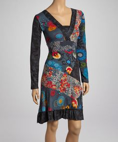 Take a look at this Fashion Fuse Black & Blue Floral V-Neck Dress on zulily today!