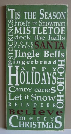 Christmas Typography Word Art Sign in Medium Green Love this!!