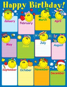 Birthday chartlets are an excellent way to celebrate students' birthdays! The Smiley Face Birthday chart measures x and includes a resource guide on the back. Kindergarten Classroom Decor, Classroom Rules, Classroom Displays, Classroom Posters, Classroom Themes, Birthday Calendar Classroom, Birthday Bulletin Boards, Classroom Bulletin Boards, Birthday Display