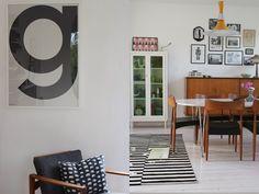 Ikea black and white stripped carpet