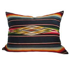 1stdibs | Fantastic Wool Mexican Serape Bolster Pillow With Linen Back