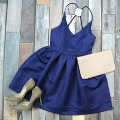 Shop this NEW Twirl On Dress in Navy for your summer special occasion! ONLY $42!