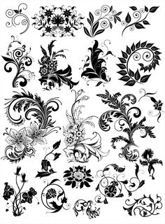 Collection of vector black floral decorative elements in ornate style. Set contains ornate flowers, floral elements, swirls, etc. Free Vector Graphics, Vector Art, Elements Of Art, Design Elements, Arabesque, Illustration Blume, Sharpie Art, Stencil Patterns, Motif Floral