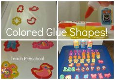 DIY colored glue letters, numbers, and shapes for the light table